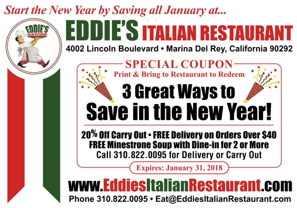 Three Ways to Save at Eddie's Italian Restaurant - Get 20% Off Carry Out, FREE Delivery on Orders Over $40 or a Free Minestrone Soup with Your Dine-in Lunch or Dinner Order
