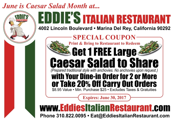 Get FREE Large Caesar Salad with Dinner Order for Two or 20% Off Carryout All Month Long at Eddie's Italian Restaurant!