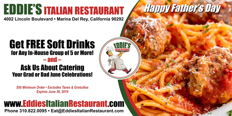 Eddie's Italian Restaurant: Get Free Soft Drinks for Any In-House Group of 5 or More & Ask Us About Catering!